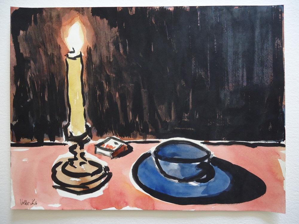 Kerze, Streichhölzer, Tasse